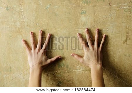 Pair Of Female Hands On Abstract Cement Wall