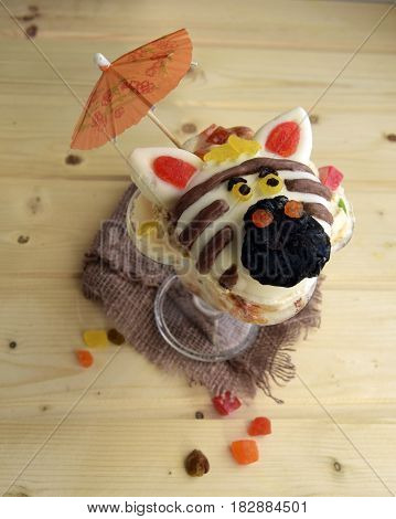 The zebra is made of ice cream. A creative dessert for children and good mood