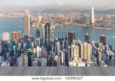 Opening wooden floor Hong Kong city office building central business downtown aerial view