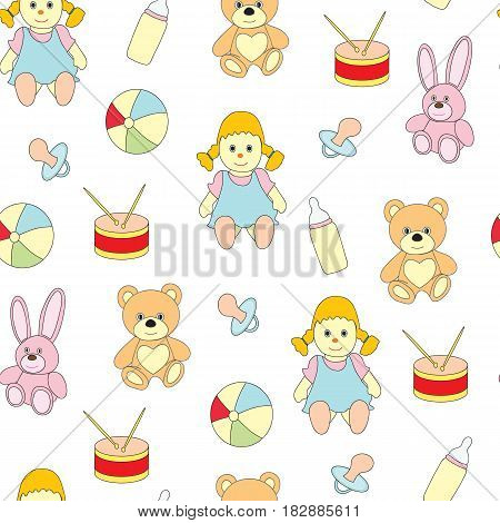 Seamless pattern from toys for kids. A vector picture with a ball, a doll, a baby's dummy, a hare, a bear on a white background