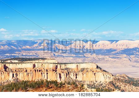 Beautiful panoramic view of sandstone mountain wall of Bryce Canyon National Park in Utah, USA