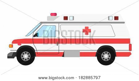 Ambulance colorful mean of transportation isolated on white. Vector illustration in flat design of special vehicle in light color with red stripes and cross. Emergency help transport template picture