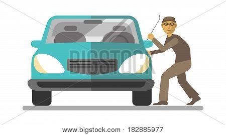 Man thief breaking azure car door using metal crowbar isolated on white. Vector illustration in flat design of dressed in brown clothes and glasses doing illegal action. Stealing template picture
