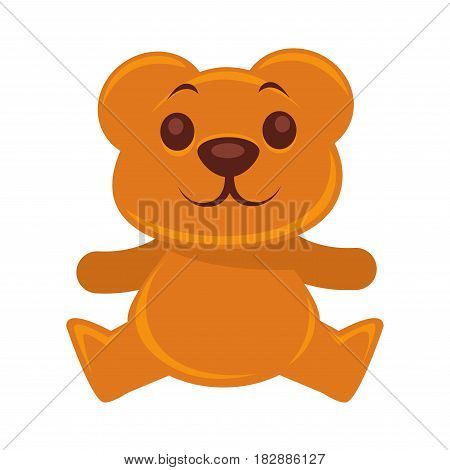 Plush teddy bear vector illustration isolated on white. Cute cartoon sitting animal. Stuffed toy in flat design, sweet present for children, sticker of cheerful ted, best fluffy friend icon