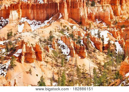 Sandstone mountains of Bryce Canyon National Park with remains of snow, Utah