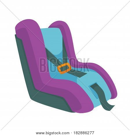 Child safety seat, infant restraint system vector illustration isolated on white. Restraining car chair icon designed specifically to protect children from injury or death during collisions.