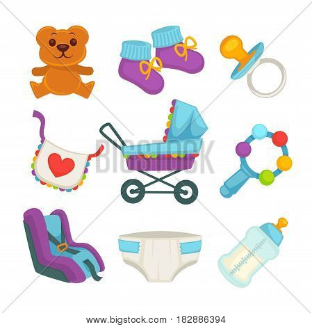 Baby things and clothes colorful poster on white. Necessary elements for newborns banner template. Disposable diaper, teddy bear, baby car seat, violet-blue pram, knitted shoes, bottle with milk