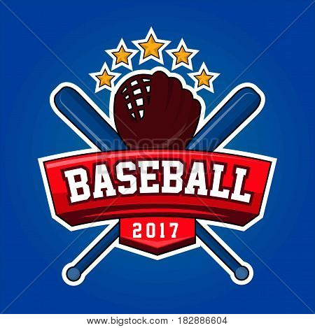 Baseball 2017 logo design with two crossed bats, leather glove and five stars isolated on blue background. Bat-and-ball game logotype in flat style with text, brand sticker for tournament play