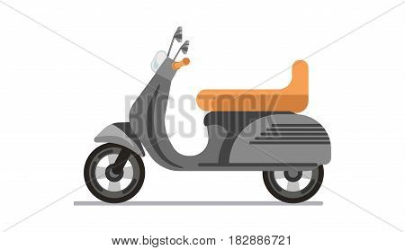Scooter or motorbike isolated on white vector illustration. Light two-wheeled open motor vehicle, self-balanced moped or motorised bicycle icon in flat design cartoon style. Transportation item