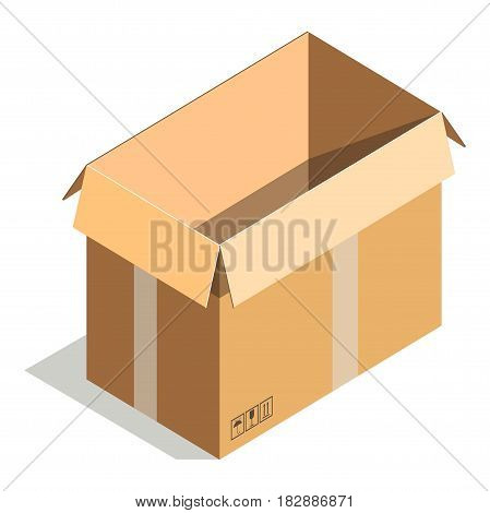 Delivery shipping package, square empty container, carton store package in flat design. Compact blank parcel. Empty paper open cardboard box isolated on white background vector illustration.