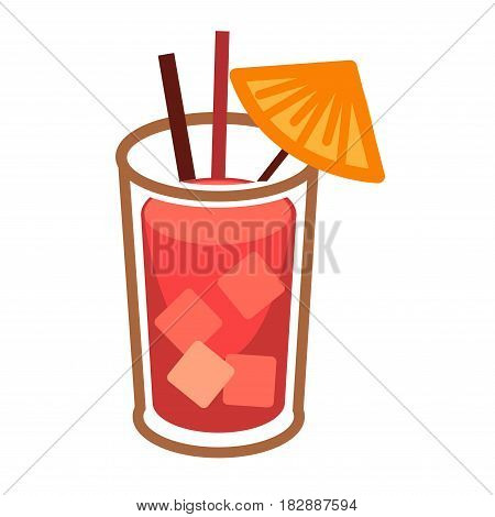 Modern tropical cocktail with ice cubes in glass highball with two straws and umbrella vector illustration. Prepared from classic vodka, orange or strawberry, lemon juice. Sticker for restaurant menu