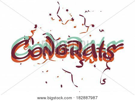 Vector illustration of the congrats word with flying confetti isolated on white.