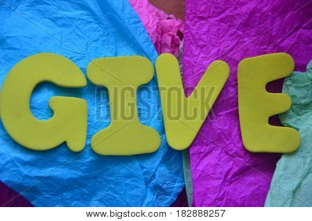 word give on a  abstract  colorful bacground