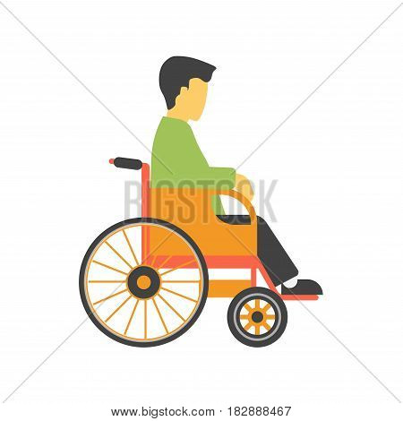 Incapacitated faceless person on wheelchair isolated on white background vector illustration. Male on transportation chair for disabled people, necessary ambulance equipment in flat style design