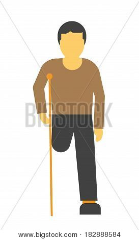 Amputee faceless person on crutches vector illustration isolated on white. Disabled limb man without leg, patient with amputated foot in flat design cartoon style, with wooden crutch in hand