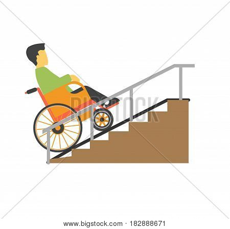 Man in wheelchair riding on stairs vector picture. Disabled male person on special carriage trying to move up by ramp colorful illustration in flat design. Disability template and helping things