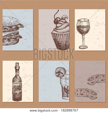 Hand drawn food sketch cards natural menu restaurant fresh product and kitchen doodle meal cooking cuisine sketchy organic vector illustration. Vintage fresh tasty product.