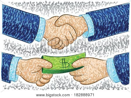 Vector illustration with handshake sign of agreement and payment