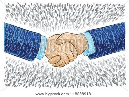 Vector illustration with handshake sign of agreement