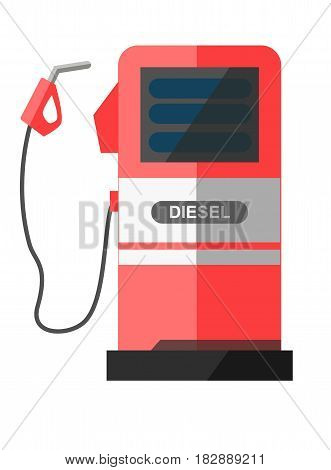 Red petrol station with disconnected filling pistol and word diesel on gray strip isolated on white. Ruddy refueling column that pours fuel for motor vehicles vector illustration of service point icon
