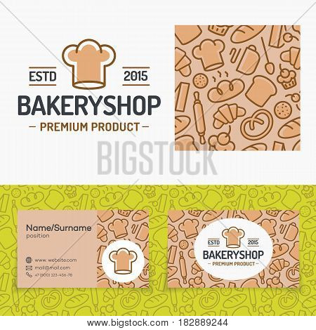 Bakery shop set with logo consisting of chefs hat, seamless pattern and cards for identity baking firm, loaf store, food market, coffee shop, cafe etc. Vector Illustration