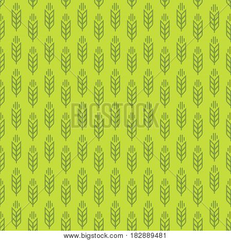 Ear seamless pattern with wheat on green background for decoration nature firm, ecology company, natural product store, organic market, bakery shop, garden, farming, forest. Vector Illustration
