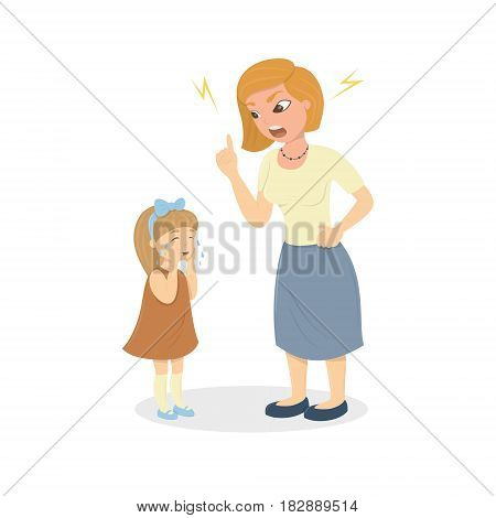 Mother abuse the daughter. Angry mother yells at little scared kid. Characters on white background. Children's abusing.