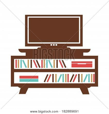 Wide-screen TV on small bookcase with colored books or journals, red box on white background. Brown table with books silhouettes underneath of television vector illustration in flat style design