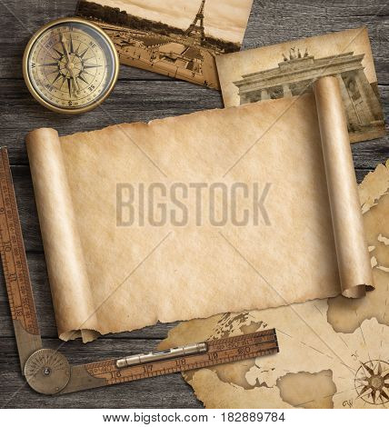 Old map background with compass. Adventure or discovery concept. 3d illustration.