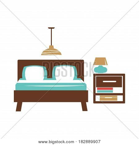 Double bed, brown bedside table with blue lamp, hanging chandelier on ceiling in bedroom. White and navy bed linen, two pillows on bedstead. Vector illustration of dormitory interior isolated on honky