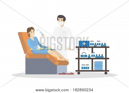 Woman at cosmetologist. Male beauty doctor with patient and injection on white background.