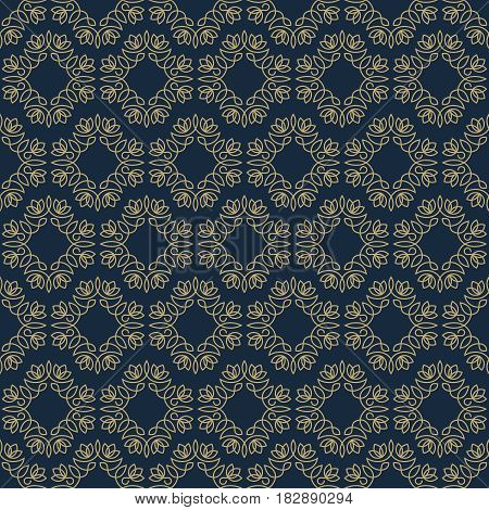 Vintage seamless pattern gold color line style on dark background for use spa service, greeting card, banner of hotel, business offer, wedding invitation etc. Vector Illustration