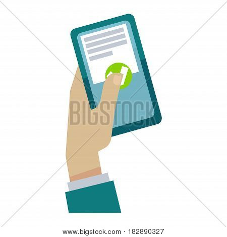 Vector illustration of a hand pressing the approve button on smartphone.