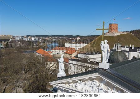VILNIUS, LITHUANIA . Aerial view at Vilnius. Panorama of Vilnius: Neris river, old town and other objects