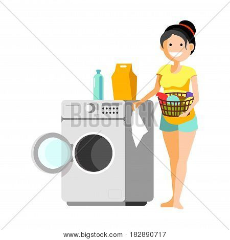 Vector illustration of a smiling girl putting the clothes to washer during the laundry day.