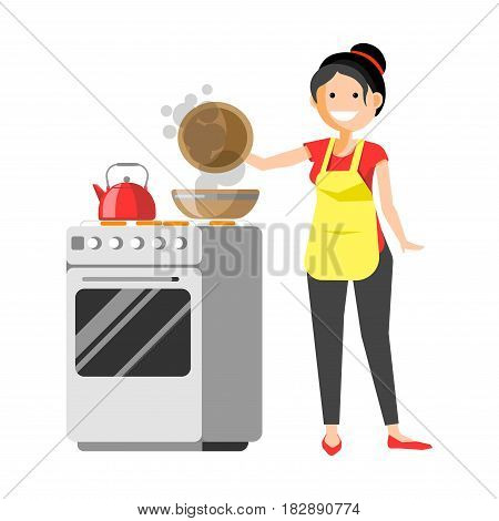 Smiling housewife standing near grey cooker holds cover of pot and prepares dishes colorful flat vector illustration. Busy and happy young lady doing housework in kitchen, cooks delicious meal