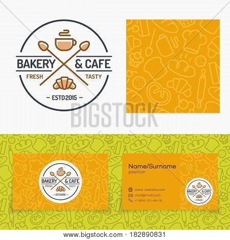 Bakery and cafe set with logo consisting of cup of coffee and croissant, seamless pattern and cards for identity baking firm, loaf store, food market, coffee shop, cafe etc. Vector Illustration