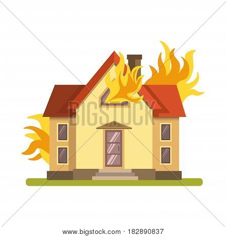 Blazing double decker house with red roof and green lawn burning with fire on white background. Orange flame broke out both in front and behind establishment vector illustration flat design