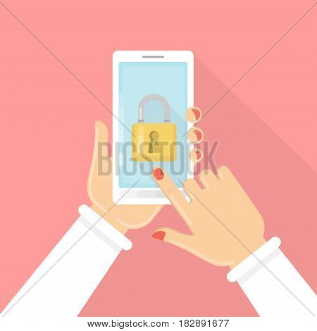 Phone lock concept. Female hands hold smartphone with lock screen.