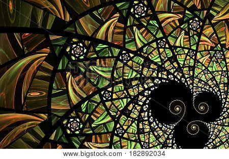 An abstract computer generated modern fractal design on dark background. Abstract fractal color texture. Digital art. Abstract Form & Colors. Abstract fractal element pattern for your design. Spiral yello and green mosaic fractal pattern