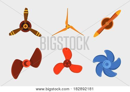 Turbines icon propeller fan rotation technology equipment blade wind ventilator generator vector illustration. Air blower electric industrial ventilators.