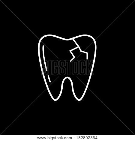 Cracked tooth line icon, Dental and medicine, vector graphics, a linear pattern on a black background, eps 10.