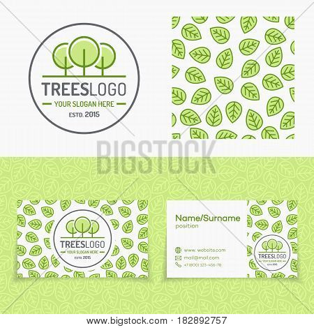 Trees logo set with leaves pattern and cards for organic shop, nature firm, natural product market, ecology company, green unity, garden, farming. Vector Illustration