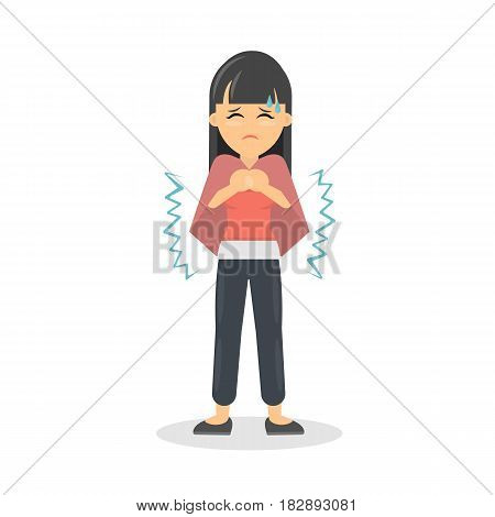 Woman with cold. Sick young woman is ill. Isolated character on white.