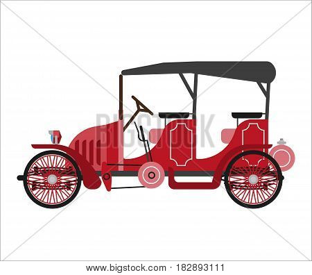 Ancient car isolated on white vector flat illustration. Old ruddy street mean of transportation on wheels and with black clothing roof for carrying passengers. Luxury vehicle template picture