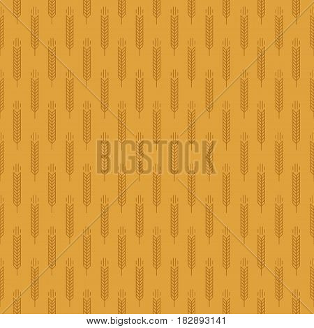 Ear seamless pattern with wheat on brown background for decoration organic market, bakery shop, natural product store, nature firm, ecology company, garden, farming, forest. Vector Illustration