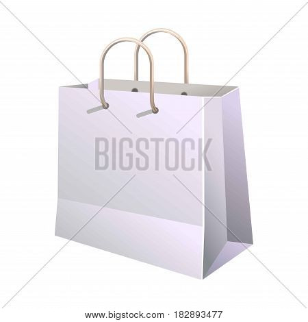 Paper shopping bag with handle isolated on white. Vector poster in realistic design of container made of carton for carrying goods and food products. Eco package banner in flat cartoon style