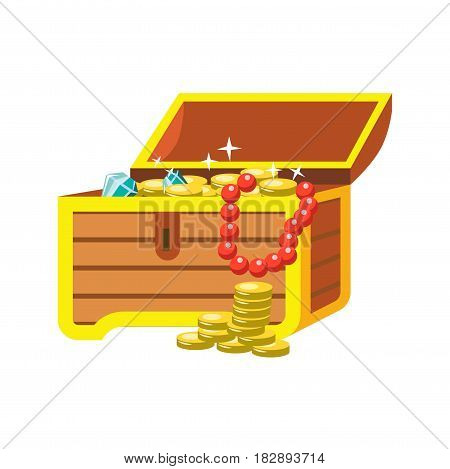 Open chest with shining pirate treasures on white background. Blue gems, lots of golden sparkling coins, red beads in wooden lockable box. Vector illustration of wealth and gold graphic icon