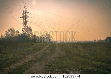 High voltage power line at beautiful evening sky