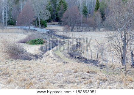 Rural country road surrounded by farming lands poster